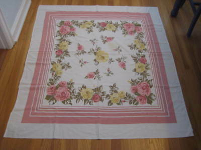 Vintage Floral Pink & Yellow ROSES Stripes Rayon Tablecloth 44 x 51 As Is