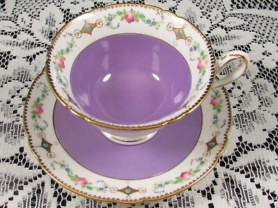 Shelley Hand Painted Pink Roses Turquoise Enamel Purple Tea Cup & Saucer