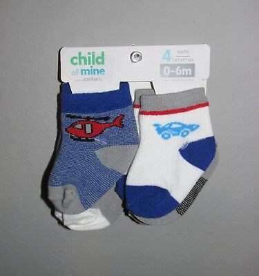 Carters Baby Boys 4 PACK Socks (Size 0-6 Months) BRAND NEW W TAGS