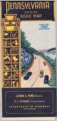 1952 Official State Issue Road Map Of Pennsylvania
