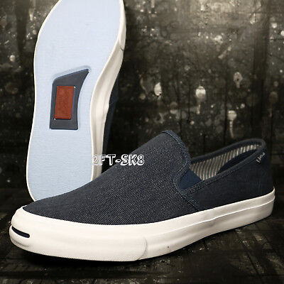 8879adcf2db0 Converse JACK PURCELL II SLIP ON NAVY WHITE NAVY MEN S 10 SHOES B89165.167