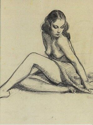 Post Card Of A Vintage Pin Up Girl Sketch By Gil Elvgren