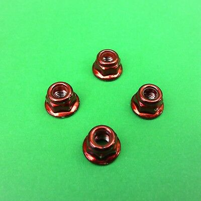 Set RED 4mm steel wheel nuts for 1:10 RC suit Tamiya HPI Traxxas Sakura Axial