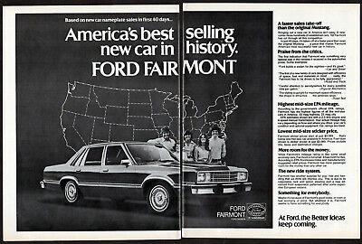 1978 FORD Fairmont Vintage Original 2 page Print AD - 4-door sedan photo usa map