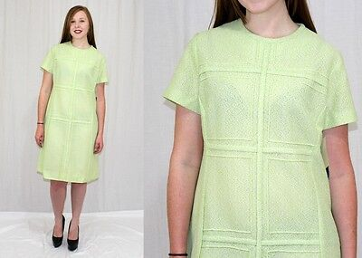 Vintage 60s MOD Mynette Lime Green Paneled Poly Retro SCOOTER Day Dress~NOS~M