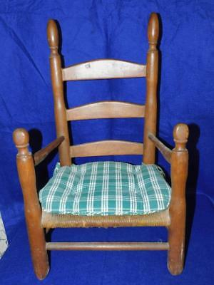 "Antique Walnut Virginia Childs Ladder Back Chair 24"" T"