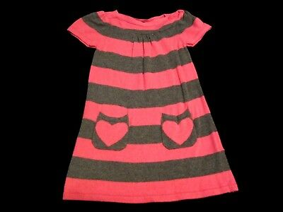 Baby Girls Toddler H&M, Pink/Gray Striped Sweater Dress Size 1/2yrs