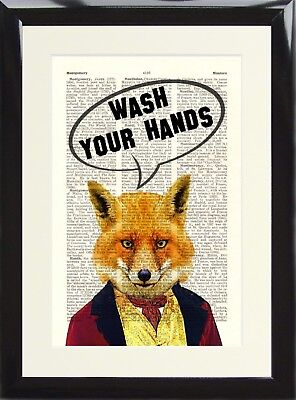 Funny Toilet Loo Sign Steampunk Fox Animal Wash Your Hands Dictionary Art Print