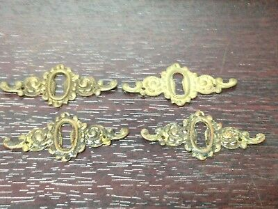 4 Antique Vintage  Brass Victorian Key Hole Escutcheon Plate Parts