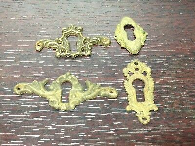 4 Antique Vintage Cast Brass Victorian Key Hole Escutcheon Plate Parts