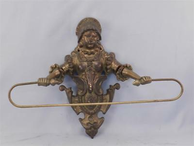 Antique Solid Cast Brass or Bronze Figural Towel Holder~Art Nouveau Style Girl