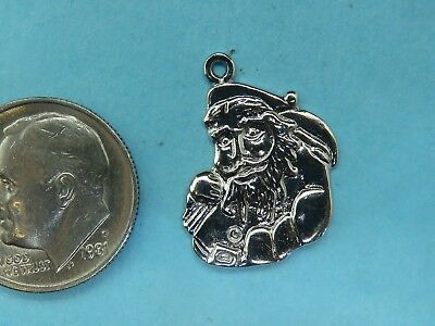 Vintage sterling silver MERRY CHRISTMAS SANTA CLAUSE KRIS KRINGLE PENDANT charm