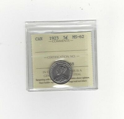 **1923**, ICCS Graded Canadian,  5 Cent, **MS-62**