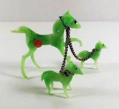 Vintage Japan Miniature Art Glass Figures Horse & Babies Hand Made Orig. Sticker