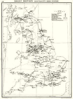 UK. Great Britain- Electricity grid system 1938 old vintage map plan chart