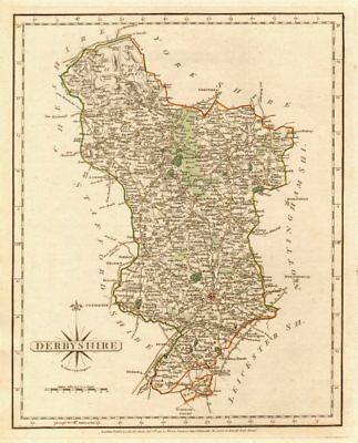 Antique county map of DERBYSHIRE  by JOHN CARY. Original outline colour 1787