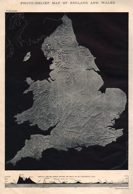 Photo-Relief map of England and Wales 1898 old antique vintage plan chart