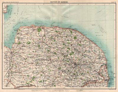 NORFOLK. Coast & Broads. The Wash. Norwich Great Yarmouth Cromer 1898 old map