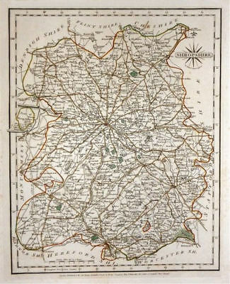 Antique county map of SHROPSHIRE by JOHN CARY. Original outline colour 1787
