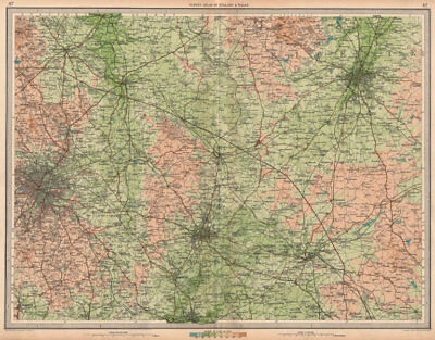 MIDLANDS Birmingham Rugby Leicester Coventry Leamington Spa Redditch 1939 map