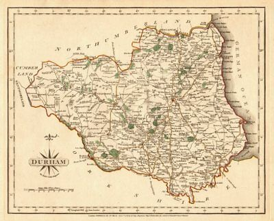 Antique county map of DURHAM by JOHN CARY. Original outline colour 1787