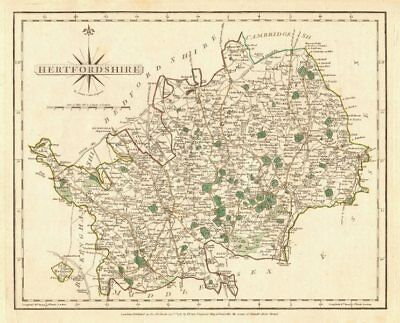 Antique county map of HERTFORDSHIRE by JOHN CARY. Original outline colour 1787