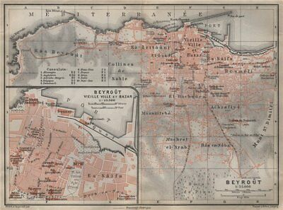 BEIRUT / BEYROUTH town city plan. Inset vieille ville & Bazar. Lebanon 1911 map