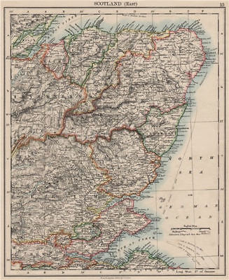 SCOTLAND EAST. Grampian Tayside Fife Firth of Forth Aberdeen.JOHNSTON 1900 map