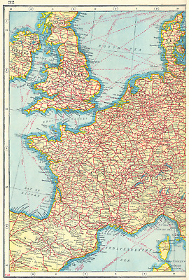 WESTERN EUROPE. Showing Railways & steamship routes. West sheet 1920 old map