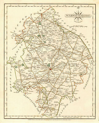 Antique county map of WARWICKSHIRE by JOHN CARY. Original outline colour 1787