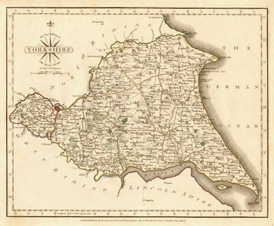 EAST RIDING OF YORKSHIRE antique map by JOHN CARY. Original outline colour 1787