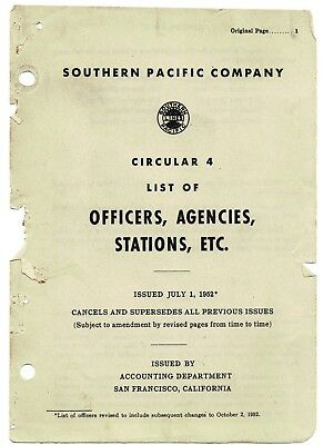 Southern Pacific Company  List of Officers, Agencies, Stations, ETC