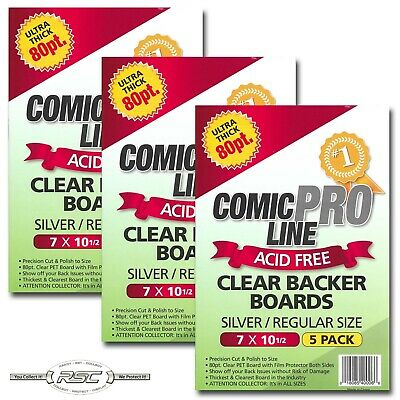 "15 - Comic Pro Line SILVER / REGULAR 80pt CLEAR PET Backer Boards 7"" x 10-1/2"""