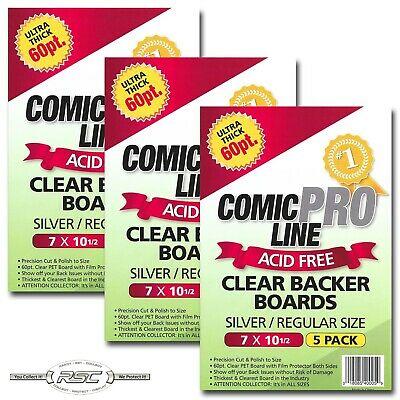 "15 - Comic Pro Line SILVER / REGULAR 60pt CLEAR PET Backer Boards 7"" x 10-1/2"""