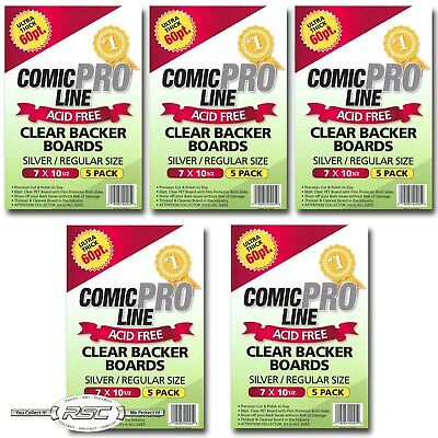 "25 - Comic Pro Line SILVER / REGULAR 60pt CLEAR PET Backer Boards 7"" x 10-1/2"""