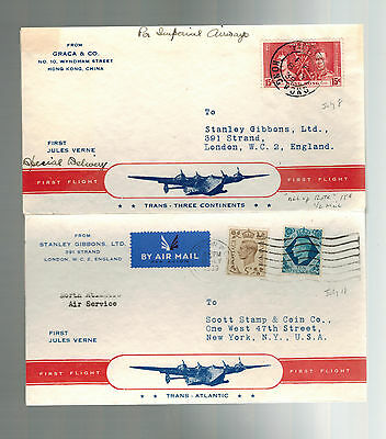 1939 Hong Kong First Flight Cover FFC to England via Imperial Airways w return