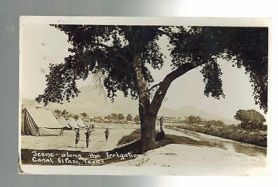 Mint Mexico Revolution RPPC Postcard El Paso TX Irrigation Canal US Army Soldier