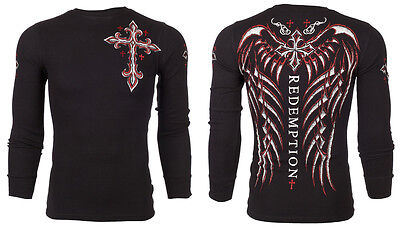 ARCHAIC by AFFLICTION Mens LONG SLEEVE THERMAL Shirt SPINE WINGS Biker $58