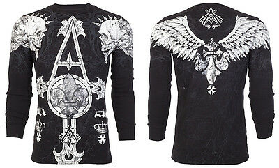 ARCHAIC by AFFLICTION Mens LONG SLEEVE THERMAL Shirt TALL TALE Skulls $58