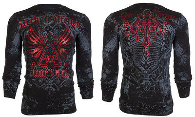 ARCHAIC by AFFLICTION Mens LONG SLEEVE THERMAL Shirt ACHILLES Biker UFC $58 NWT