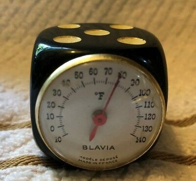 Vintage BLAVIA--BLACK Color Bakelite Marbled Dice Thermometer-Made in France