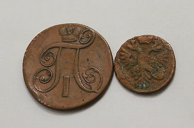 Russia 1740 + 1801 - 2 Old Coins A98 Rhh20