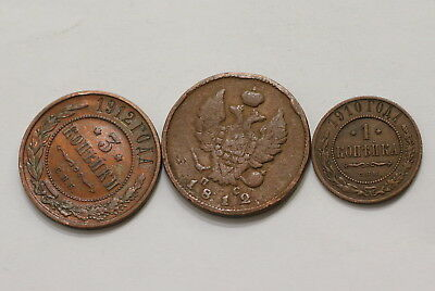 Russia 3 Old Kopeks Coins A98 Rbb35