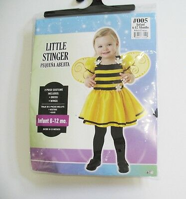Little Stinger Bumble Bee Halloween Costume Infant Girls Sz 0-6 months - New