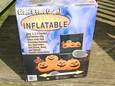 8 ft Foot Wide Airblown Inflatable Pumpkin Patch LED Halloween Blow Up Yard