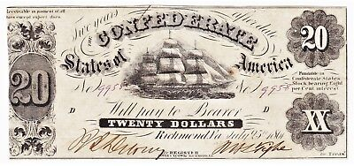 Excellent Second Issue Civil War 1861 CONFEDERATE STATES OF AMERICA $20 NOTE T-9