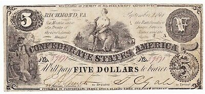 Third Issue Civil War 1861 CONFEDERATE STATES OF AMERICA $5 NOTE T-36