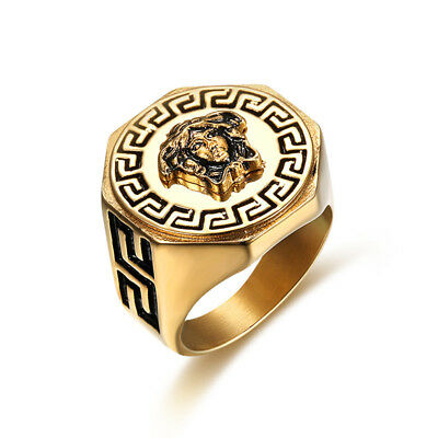18k Gold Plated Titanium Greek Mythology Medusa Vintage Style Hiphop Ring M36