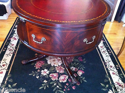 ANTIQUE English Mahogany Rotating Drum Table Ox Blood Leather & Gold Top c1940s
