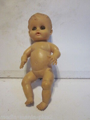 "VINTAGE RUBBER BABY Doll 10"" Molded Hair Clothing - $17.99 
